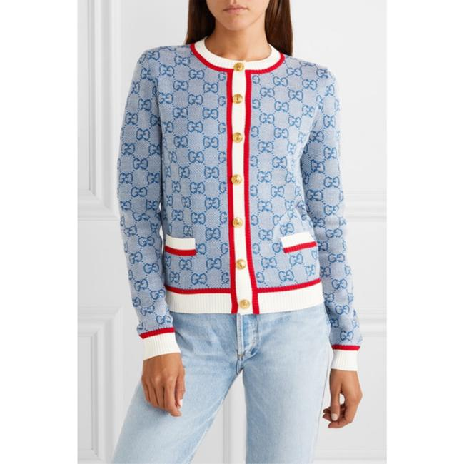Item - Blue Red White Gg Knit Cardigan Size 8 (M)