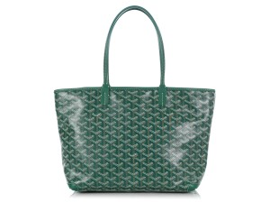 Goyard Gy.q0904.13 Monogram Silver Hardware Leather Tote in Green