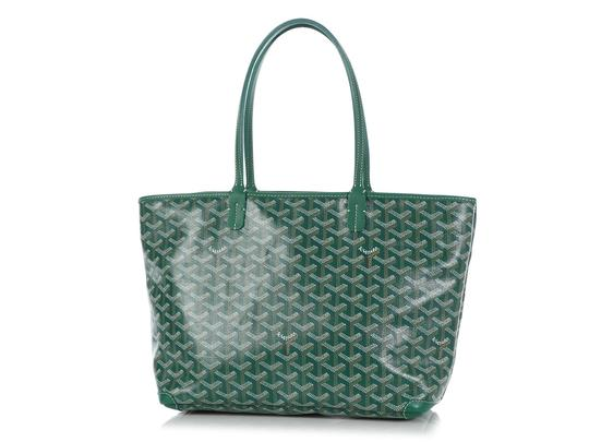 Goyard Gy.q0904.13 Monogram Silver Hardware Leather Tote in Green Image 1