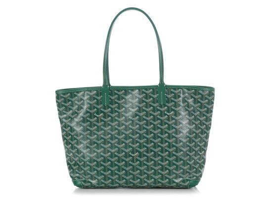 Goyard Gy.q0904.13 Monogram Silver Hardware Leather Tote in Green Image 3