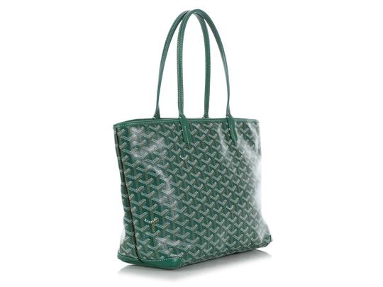 Goyard Gy.q0904.13 Monogram Silver Hardware Leather Tote in Green Image 4
