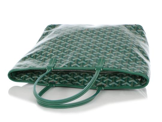 Goyard Gy.q0904.13 Monogram Silver Hardware Leather Tote in Green Image 6