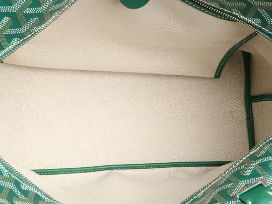 Goyard Gy.q0904.13 Monogram Silver Hardware Leather Tote in Green Image 7