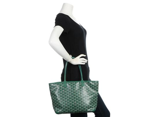 Goyard Gy.q0904.13 Monogram Silver Hardware Leather Tote in Green Image 8