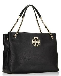 Tory Burch Purse Chain Leather Tote in Black