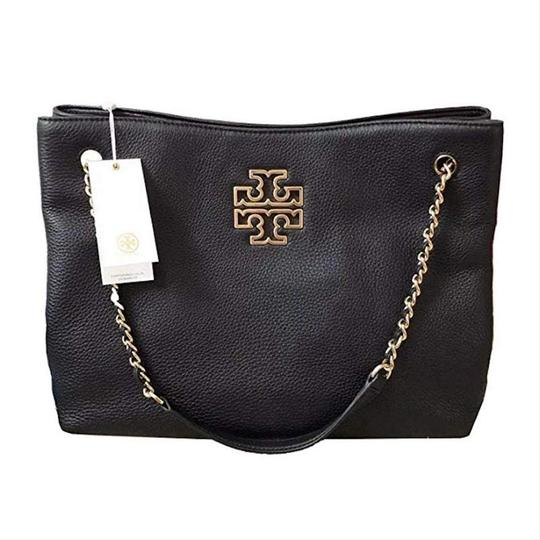 Tory Burch Purse Chain Leather Tote in Black Image 4
