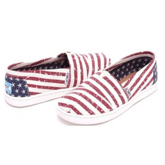 TOMS Flag print red white blue Flats Image 1