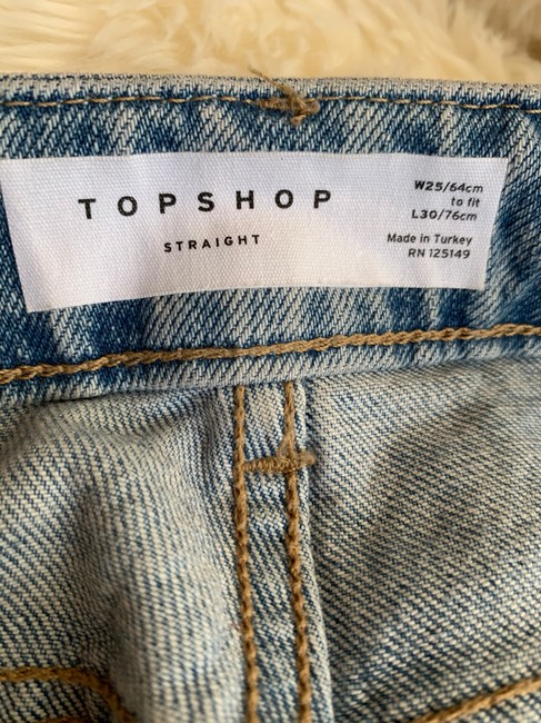 Topshop Straight Leg Jeans-Light Wash Image 4