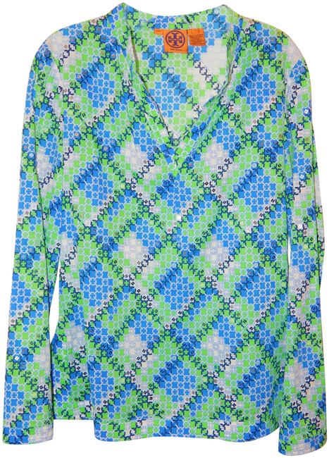 Preload https://img-static.tradesy.com/item/26150071/multicolor-green-blue-white-sequin-blouse-tunic-size-8-m-0-1-650-650.jpg
