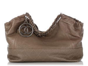 Chanel Ch.q0828.06 Quilted Silver Hardware Shw Baby Satchel in Gray