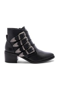 Steve Madden Leather Buckle Chunky Ankle New Black Boots