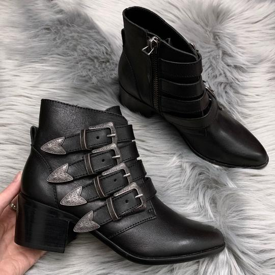 Steve Madden Leather Buckle Chunky Ankle New Black Boots Image 1