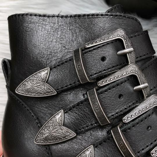 Steve Madden Leather Buckle Chunky Ankle New Black Boots Image 3
