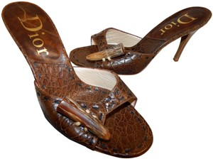 Dior Mombassa Horn Embossed Heel Brown Sandals