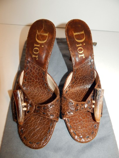 Dior Mombassa Horn Embossed Heel Brown Sandals Image 10
