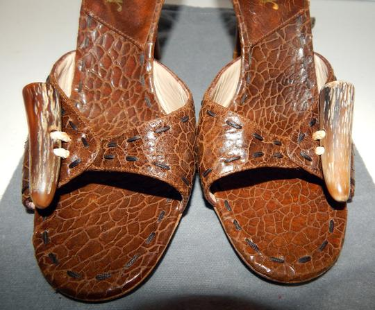 Dior Mombassa Horn Embossed Heel Brown Sandals Image 11