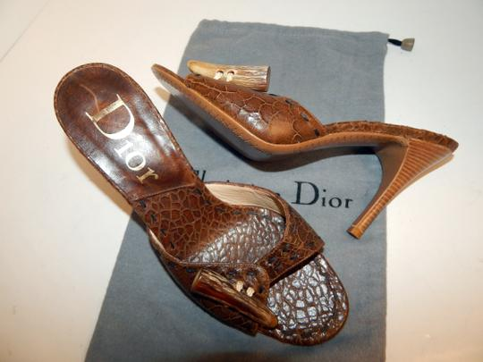 Dior Mombassa Horn Embossed Heel Brown Sandals Image 3