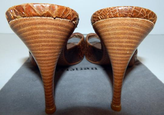 Dior Mombassa Horn Embossed Heel Brown Sandals Image 6