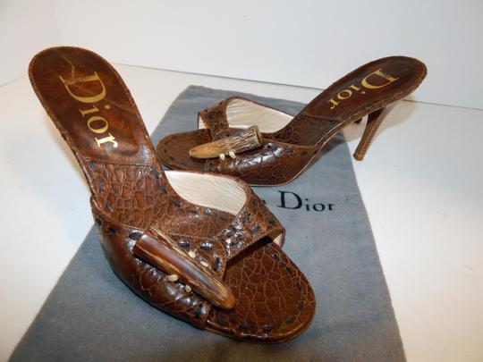 Dior Mombassa Horn Embossed Heel Brown Sandals Image 7