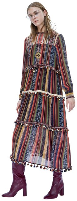 Preload https://img-static.tradesy.com/item/26150108/zara-multicolor-xs-rare-embellished-striped-with-pompoms-long-cocktail-dress-size-2-xs-0-1-650-650.jpg