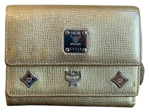 MCM Shiny Gold Leather Studded Trifold Wallet W/ Photo ID Window & Charms