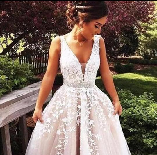 V Neck White/Ivory/Champagne Applique Open Back Sleeveless A Line Backless Bridal Formal Wedding Dress Size OS (one size) Image 2