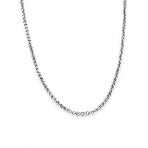 "Chopard Classic 18k White Gold 2mm Round Link Chain 16.5"" Long"