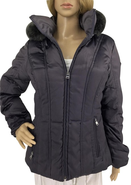 Item - Gray Down with Faux Fur Trim Hoodie Dark Coat Size 6 (S)