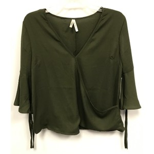 Truth NYC V-neck Semi-sheer Surplice Tie Bell Sleeve Top Olive Green