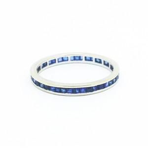 Natural Sapphire 18k White Gold Eternity Ring Women's Wedding Band