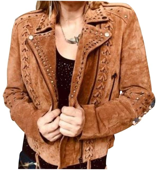 Amaryllis Brown XS New Antropologie Women's Suede Leather Studded Moto/Biker Jacket Size 0 (XS) Amaryllis Brown XS New Antropologie Women's Suede Leather Studded Moto/Biker Jacket Size 0 (XS) Image 1
