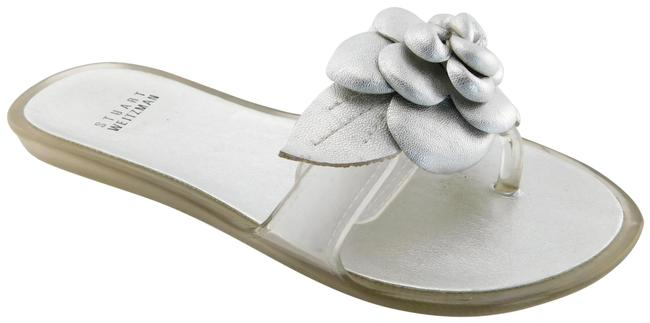 Item - Silver Jelly Floral Leather Thong Flat Sandals Size US 6 Regular (M, B)