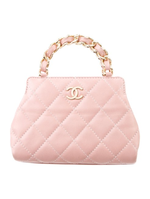 Item - Micro Mini Top Handle Satchel Baby Pink Calfskin Leather Clutch