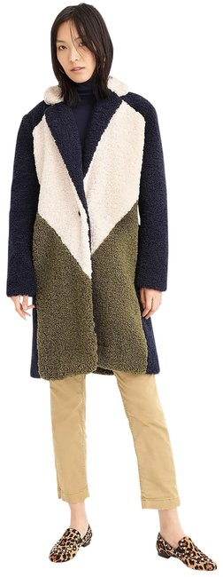 Item - Navy Ivory Olive Colorblock Sherpa Topcoat Small Rare Coat Size 4 (S)