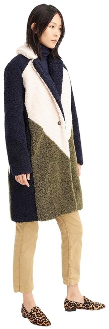 Item - Navy Ivory Olive Colorblock Sherpa Topcoat Xxlarge Coat Size 20 (Plus 1x)