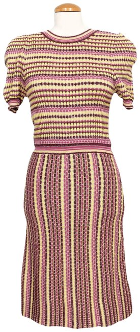 Item - Pink/Yellow Striped Shimmer Into You Sweater Mini Short Casual Dress Size 6 (S)