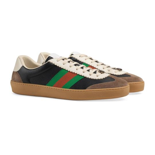 striped Leather Suede Sneakers