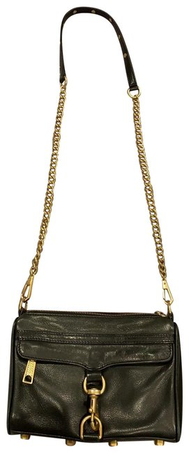 Item - Black with Gold Hardware Leather Cross Body Bag