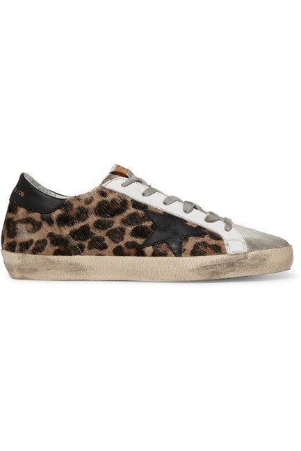 Item - Superstar Distressed Leopard-print Calf Hair Leather and Suede Sneakers Size EU 38 (Approx. US 8) Regular (M, B)