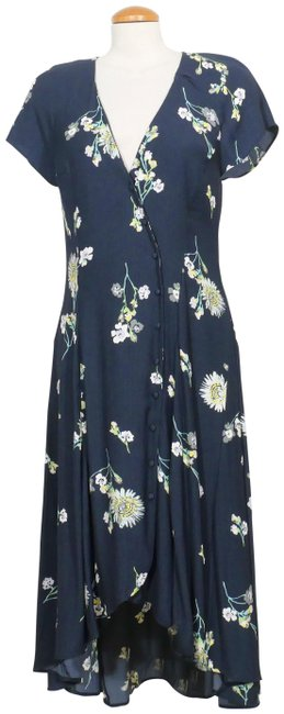 Item - Blue L Lost In You Floral High Low Midi Mid-length Short Casual Dress Size 14 (L)