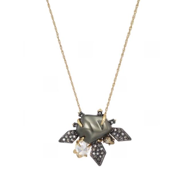 Item - Gray/Gold • Crystal Starburst Pearl Necklace