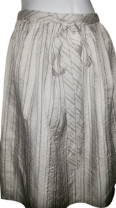 Robert Rodriguez Silk Skirt Champagne W/Black Pin Stripes