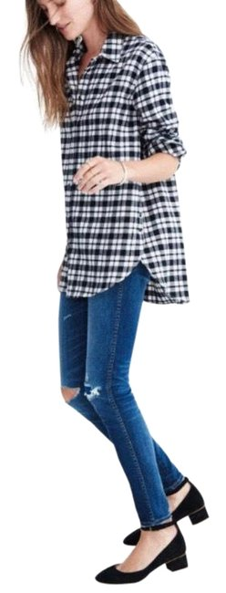 Item - Black White Plaid F7730 Button Oversized Flannel Shirt Button-down Top Size 4 (S)