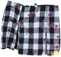 Super Low Fat Safety Pins Skulls Pleated Plaid Halloween Mini Skirt Black, White, Red, Silver