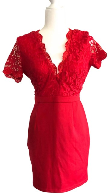 Item - Red Lace Short Cocktail Dress Size 8 (M)