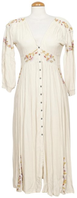 Item - Cream XS Day Glow Embroidered Floral Crinkle Midi Mid-length Short Casual Dress Size 2 (XS)