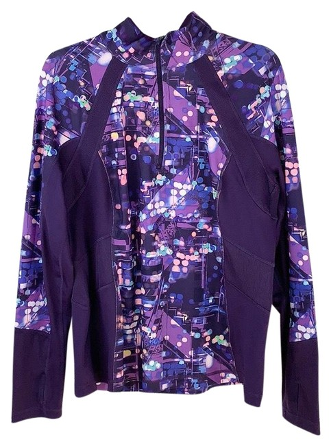 Item - Purple Blue Green Abstract Spotted Print Zip-up Activewear Outerwear Size 16 (XL, Plus 0x)