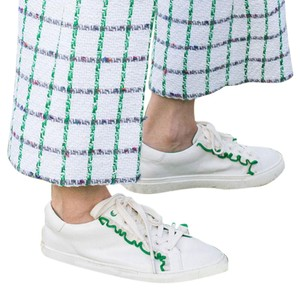 Tory Burch Sneakers Sport 8 Ruffles White/Green Athletic