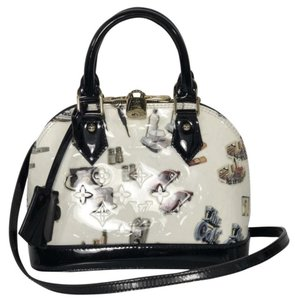 Louis Vuitton Alma Alma Bb Vernis Tote Satchel in White