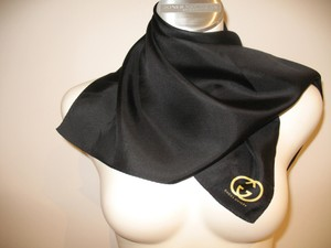 Gucci Gucci Guilty 100% Silk Black Scarf 26X26